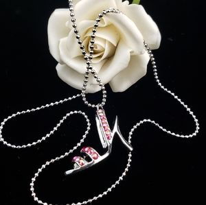 Silve Tone High Heel Necklace Genuine Chrystals